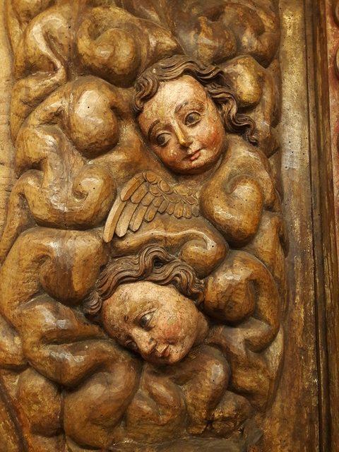 Détail du panneau d'époque XVIIe représentant le miracle de Soriano avec Saint Dominique